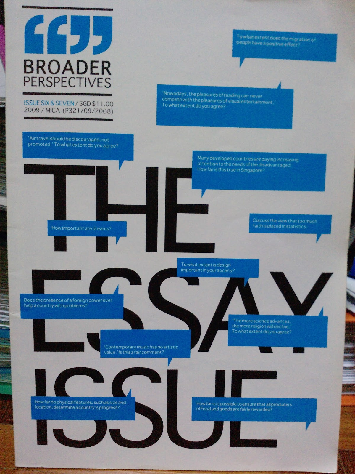 Broader perspectives essay issue 2009